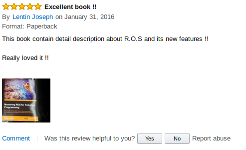 Mastering ROS fro Robotics Programming Amazon review