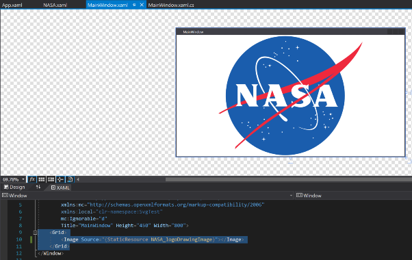 Vector Image in WPF Application Window